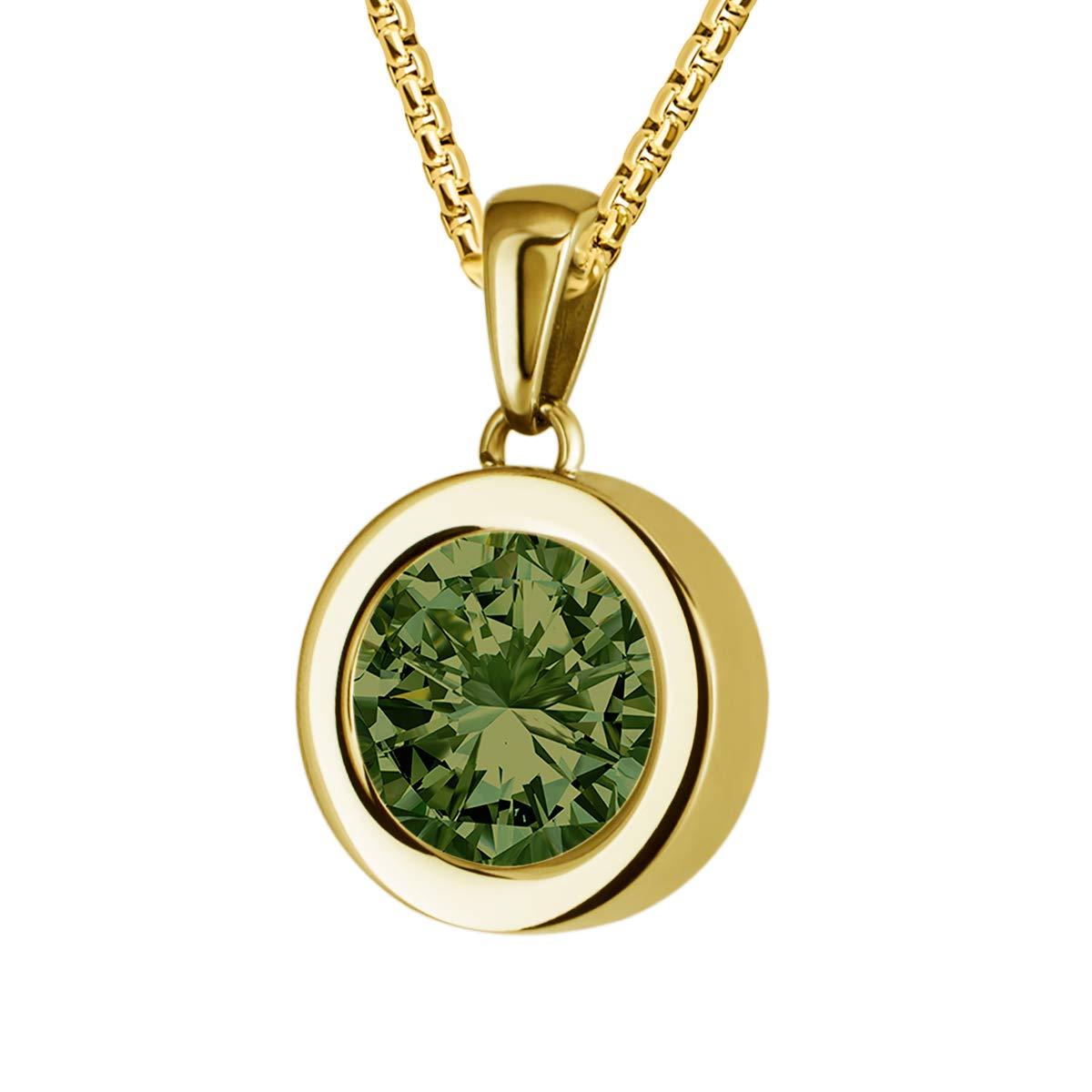 Quiges Gold Anhä nger Edelstahl 12mm Mini Coin Halter und Verschiedene Zirkonia Coins mit Venezianierkette 42 + 4cm Verlä ngerungskette SLSHS449