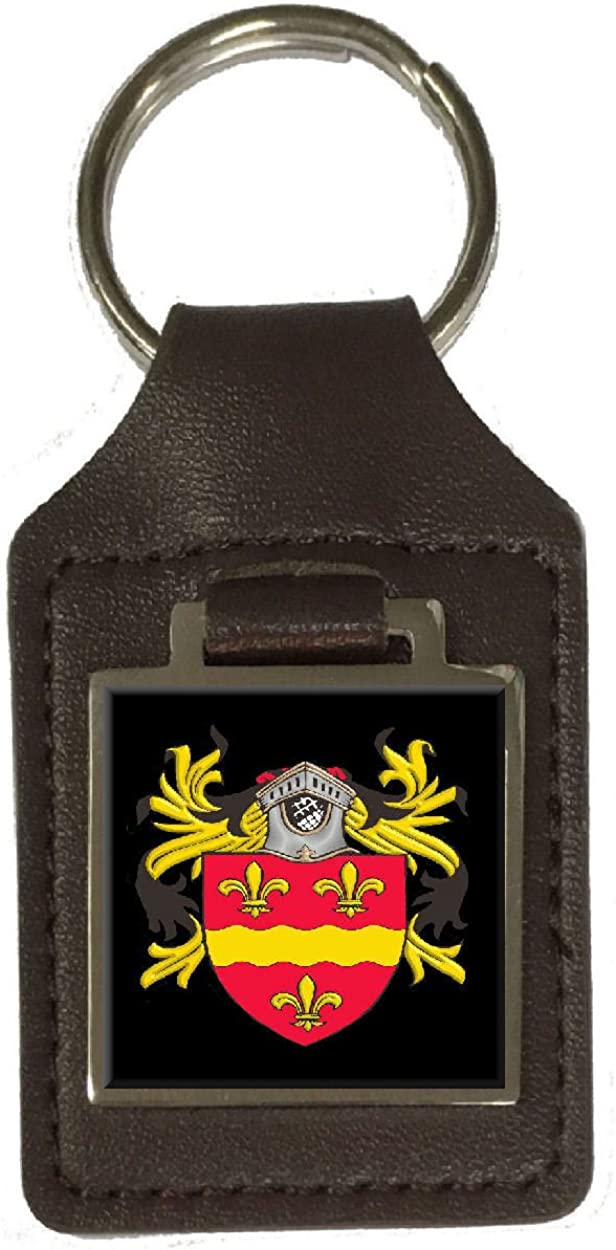 Hicks Family Crest Surname Coat Of Arms Brown Leather Keyring Engraved