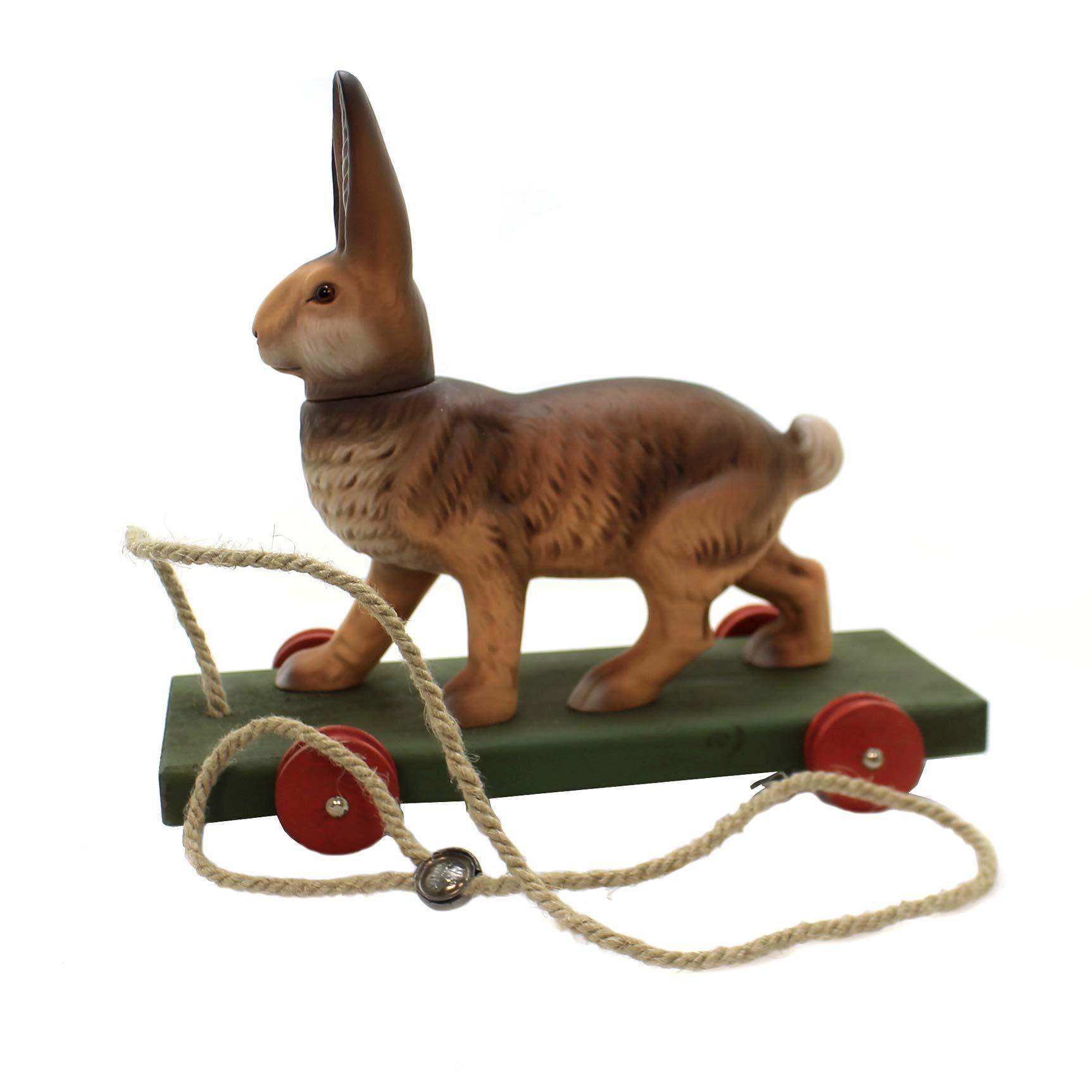 Marolin Bunny Pull Toy Paper Mache Vintage Looking Hare Rabbit 990
