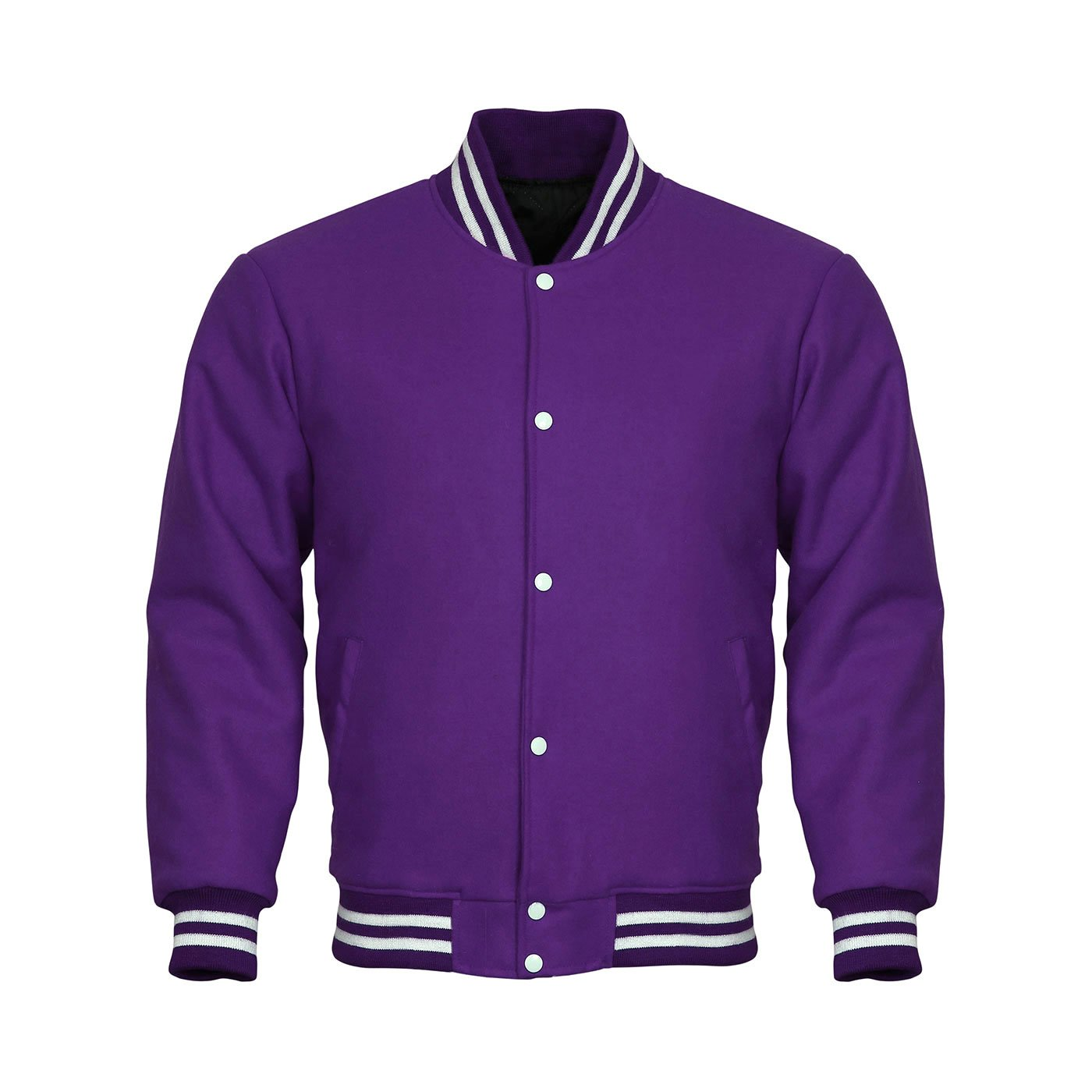 Letterman Varsity Jacket Cotton Fleece (Purple, 5XL) by Design Custom Jackets