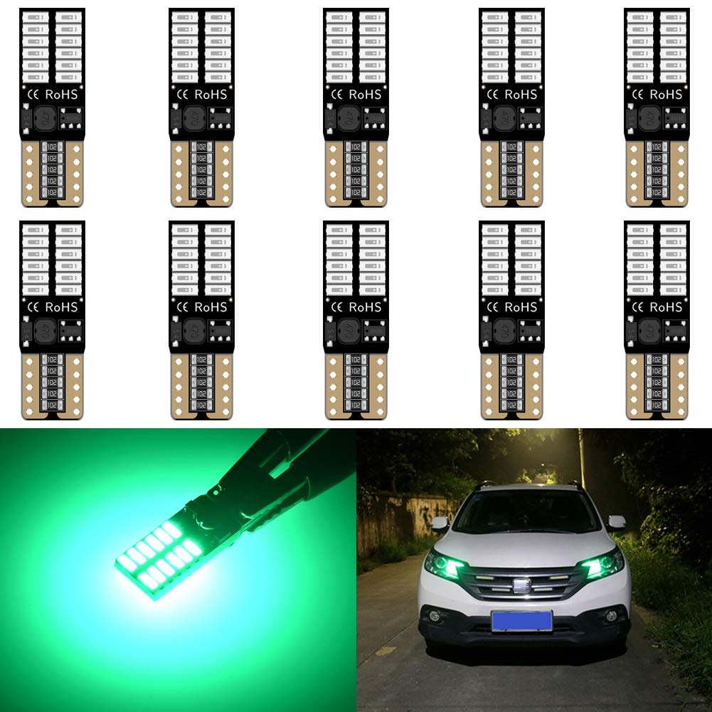 10pcs,Amber KaTur 194 LED Light Bulb 800LM CANBUS Error Free 168 2825 W5W T10 24-SMD 4014 Chipsets LED Replacement Bulbs for Car Courtesy Dome Map Door License Plate Lights