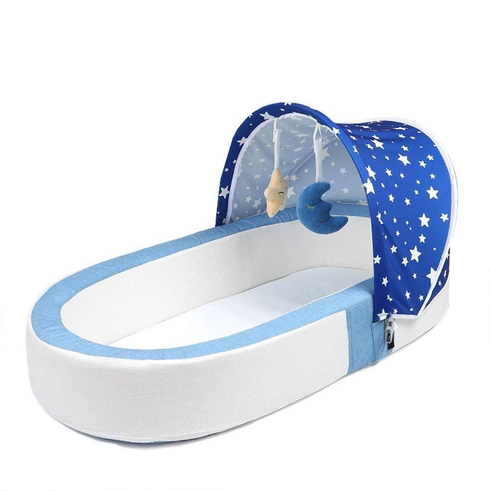 ETERLY Portable Folding Crib, Newborn Bionic Bed Removable Multi-Functional Baby Anti-Pressure Bed, Suitable for 0~12 Months Baby,lightblue (Color : Darkblue) by ETERLY