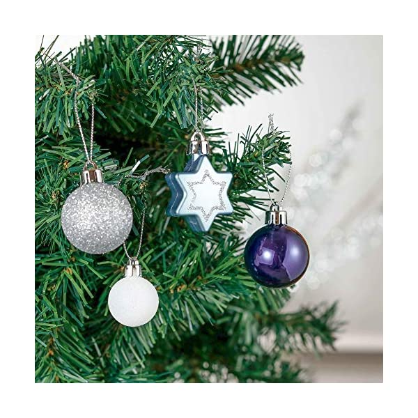 Valery Madelyn Palle di Natale 52 Pezzi di Palline di Natale, 3-5 cm Auguri Invernali Argento e Blu Infrangibili Ornamenti Palla di Natale Decorazione per la Decorazione Dell'Albero di Natale 5 spesavip