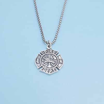 Firefighters maltese cross necklace in sterling silver on a 28