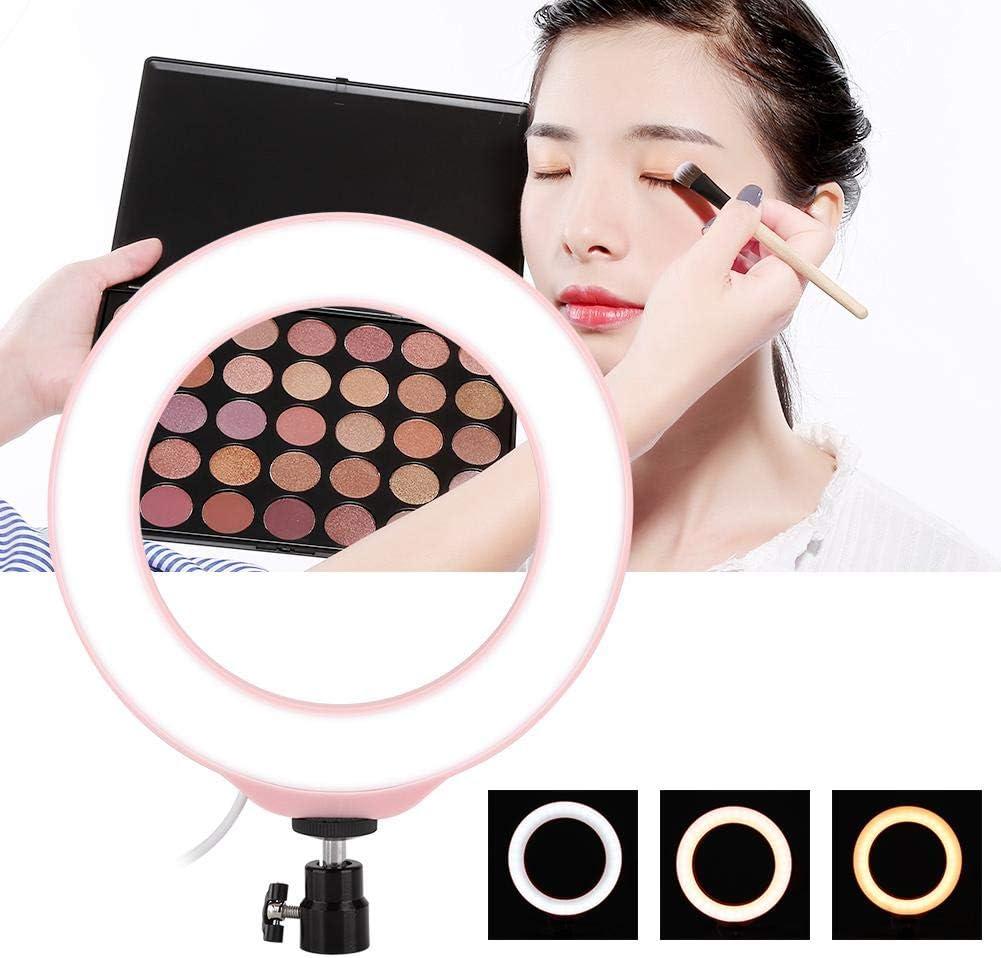 Shooting Vlog Selfie Ring Light 72pcs LED 3 Color Lighting Mode Adjustable USB Port Ring Fill Light Pink for Live Stream Makeup