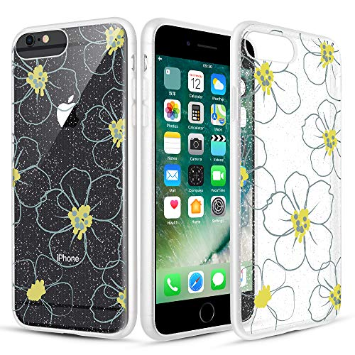 Caka Clear Case for iPhone 6S Plus Floral Glitter Clear Case Flower Pattern Hollow Flower Slim Girly Anti Scratch TPU Crystal Glitter Case for iPhone 6 Plus 6S Plus 7 Plus 8 Plus (5.5 inch) (Grey)