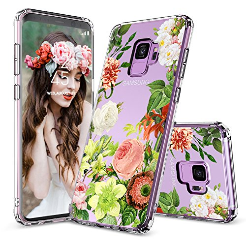 Anti Shock Case - Galaxy S9 Case, Clear Galaxy S9 Case, MOSNOVO Botany Flower Floral Design Clear Transparent Hard Plastic Case with Shockproof TPU Bumper Protective Back Cover for Samsung Galaxy S9 (2018)