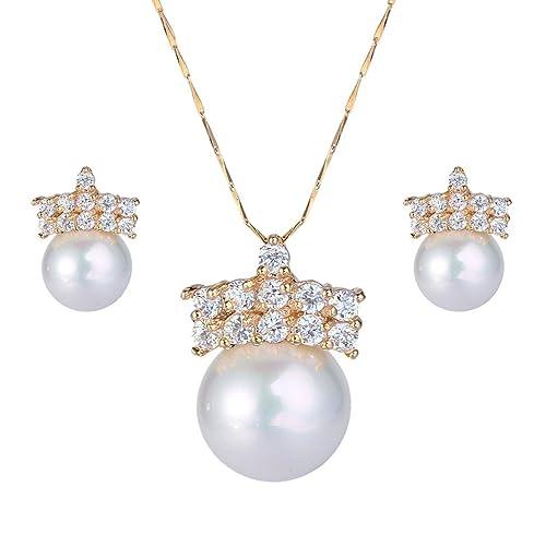 90112159f648 Ever Faith - Oro-Tono CZ Color Marfil Perla Simulada Corona Gotas de Lágrimas  Colgante Collar Pendientes Set Claro N06821-1  Amazon.es  Joyería