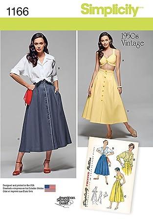 Simplicity 1166 Größe U5 16/18/20/22/61 cm Misses \'Vintage Bluse ...