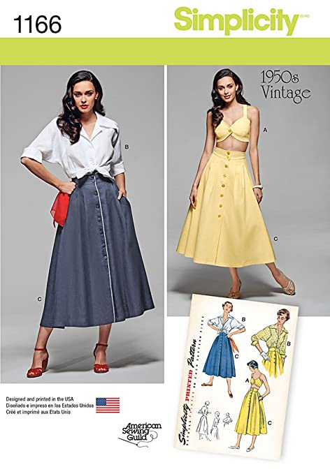 1950s Fabrics & Colors in Fashion Simplicity 1950s Vintage American Sewing Guild Pattern 1166 Misses Blouse Skirt and Bra Top Sizes 6-8-10-12-14 $9.62 AT vintagedancer.com