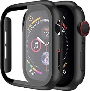 [2 Pack]Casok Black Case Compatible with Apple Watch Series 3 42mm Built-in Tempered Glass Screen Protector, Thin Guard Bumper Full Coverage Matte Hard Cover for iWatch Accessories (42mm)