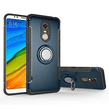 LAGUI Funda Xiaomi Redmi 5 Plus, Doble Capa Carcasa con Anilla Posterior, oporte de Montaje Magnético del Coche Cáscara Especial, Azul Marino