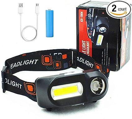 Mini COB XPE LED Headlight USB Rechargeable Headlamp Camping Flashlight 2 Modes