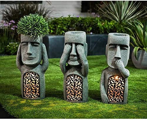 LEFUYAN No See/Hear/Speak Evil Garden Easter Island Statues Pot, Creative  Garden Resin Sculpture Planter Outdoor Decoration Great Gift - Shopicrate |  Best Amazon Products Reviews 2021