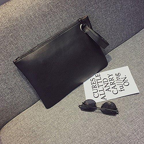 Meliya Evening Bag Oversized Envelope Solid Wristlet PU Black Handbag Purse Leather Clutch x8pZIw8nqr