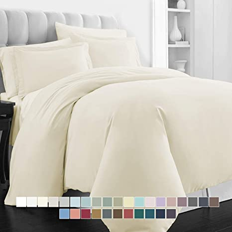 Size Ivory Twin 400 Thread Count Hem Stitch Solid Sateen Duvet Cover Set Color