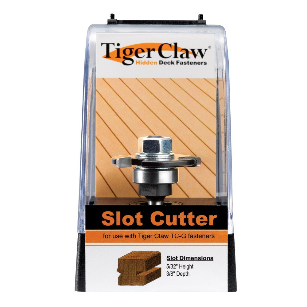 Tiger Claw TC-120 Slot Cutter for Ungrooved 3/4'' Decking - Fits in Hand Held Router - 3 Wing Carbide Blade
