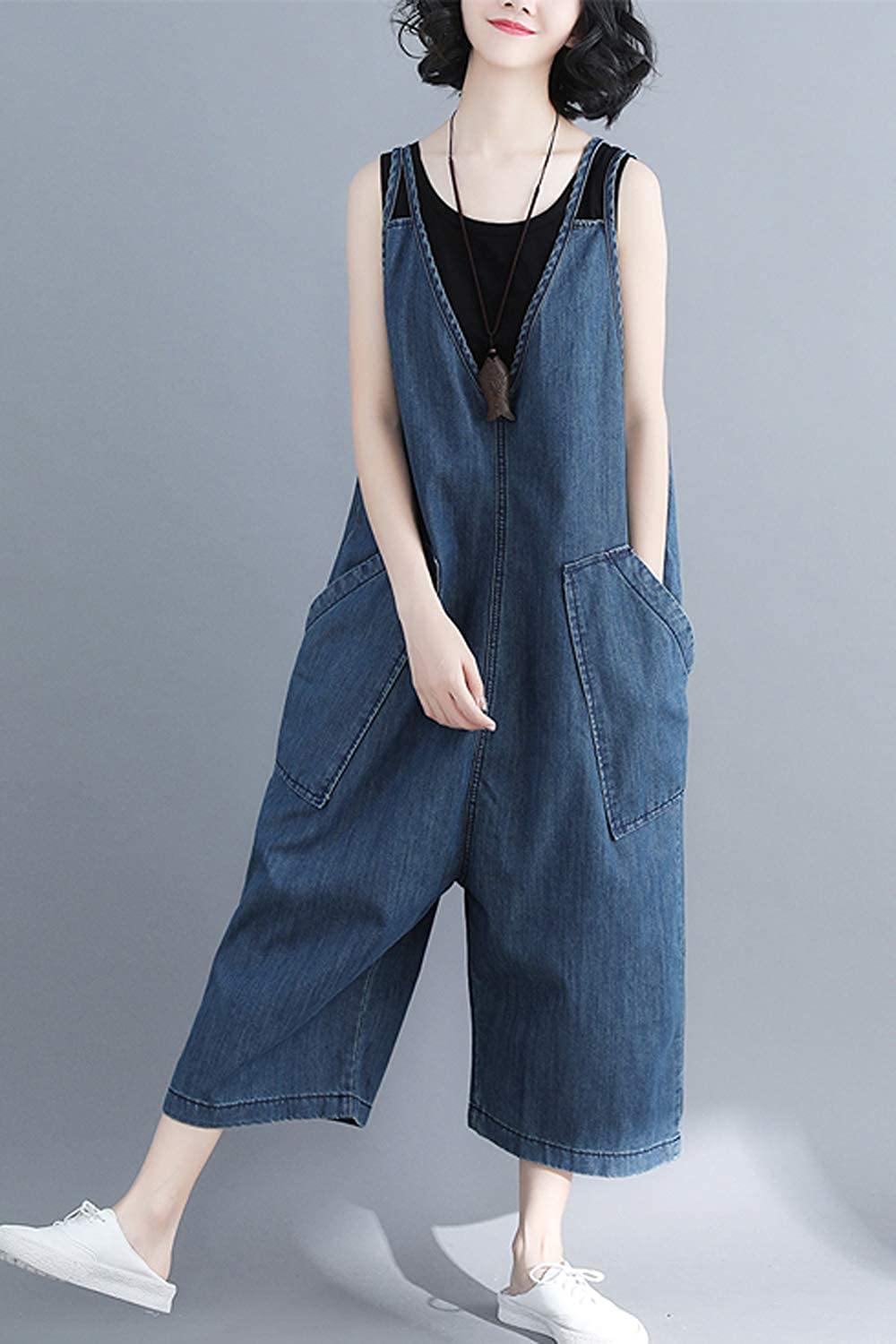 Yulinge Women Denim Jumpsuits High Waisted Summer Palazzo Pants Jeans Rompers Overalls