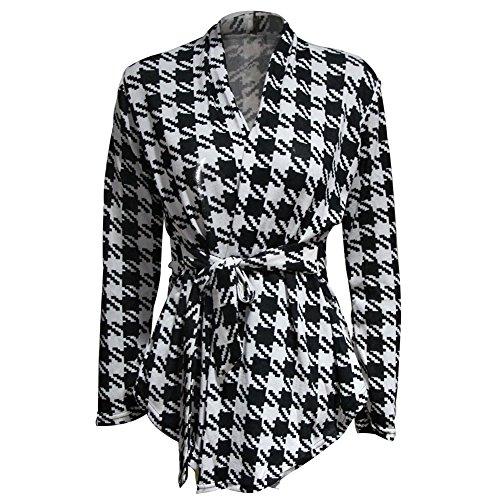 ASHERANGEL Women Houndstooth Long Sleeve Knit Coat Sweater Knitwear Cardigan US 6 Asain L