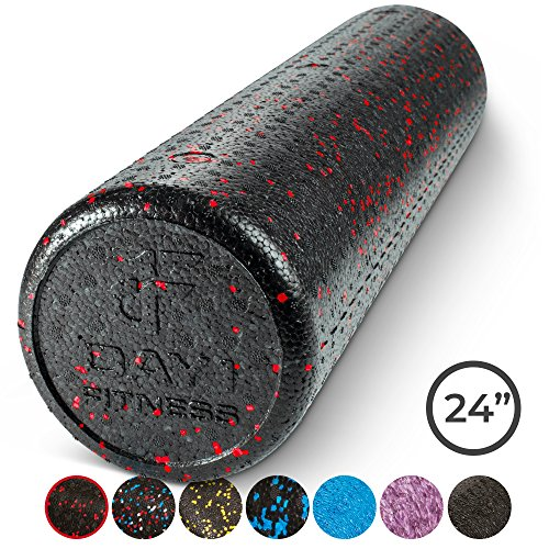 Day 1 Fitness High Density Muscle Foam Rollers by Sports Massage Rollers for Stretching, Physical Therapy, Deep Tissue and Myofascial Release - For Exercise and Pain Relief - Speckled Red, 24