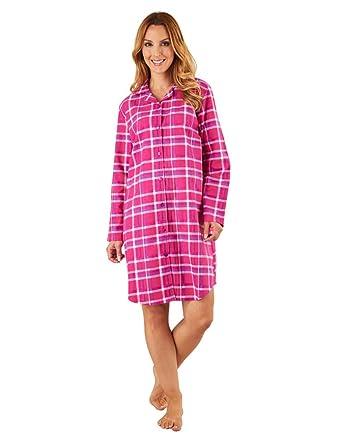b372ed42e404 Slenderella NS8215 Women s Raspberry Pink Check Cotton Sleep Shirt ...
