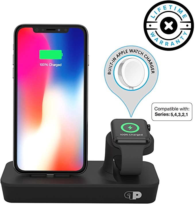 Charger Dock for Apple Watch & iPhone (Apple Certified), ONEDock DUO Power Station w/Built-in Original Apple Watch Charging Cable & Lightning ...