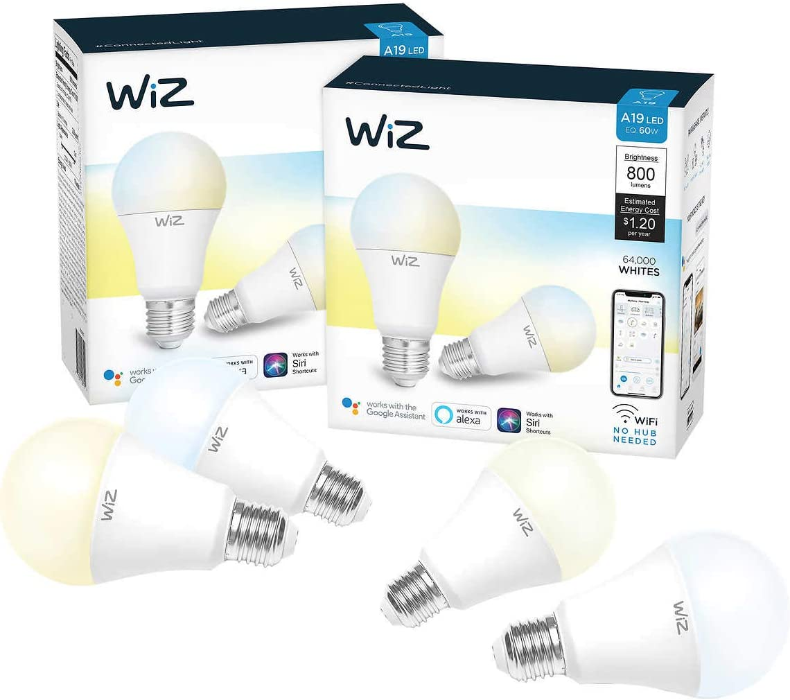 WiZ WiFi Smart Bulb A-19 White, 4-Pack