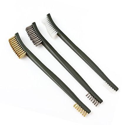 OriGlam 3 piezas Mini cepillo de alambre Set, óxido pintura Metal Limpiador, limpieza de