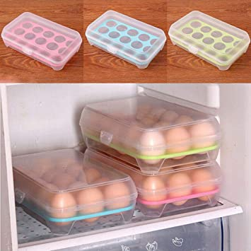 Sisaki Caja de Huevos Envase para Huevos Huevera de Plástico para la Nevera Caja con Tapa Huevera de Plástico para 15 Huevos: Amazon.es: Hogar