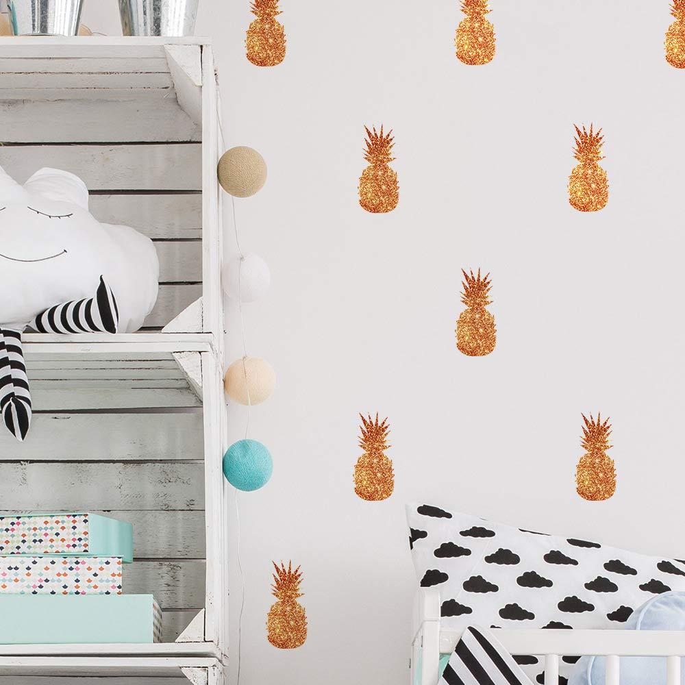 Pricuitie Decorative Pineapple Wall Stickers, DIY Art Home Decor Nursery Kids Bedroom Metallic Foil Wall Decals Glitter Bronze(6 Sheets)