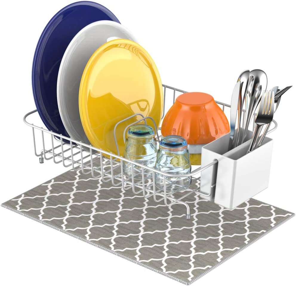 Dish Drying Rack, GSlife Small Dish Rack with Mat Utensil Holder Dish Drainers for Kitchen Counter Top,White