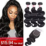 LSHAIR Brazilian Body Wave 3 Bundles with Closure (14 16 18 with 12 Free Part) 8A Grade Unprocessed Virgin Human Hair Bundles with Closure Natural Black Color