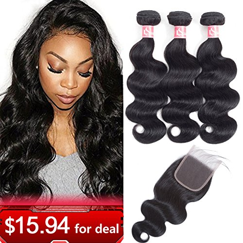 LSHAIR Brazilian Body Wave 3 Bundles with Closure (14 16 18 with 12 Free Part) 8A Grade Unprocessed Virgin Human Hair Bundles with Closure Natural Black Color (16 Straight Teeth)