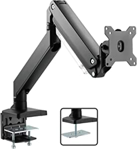 Monitor Mount Stand - Heavy Duty Gas Spring Full Motion Adjustable Monitor Single Arm Desk Mount Fits 17-35 inches Monitor Hold up to 33lbs - Premium Aluminum