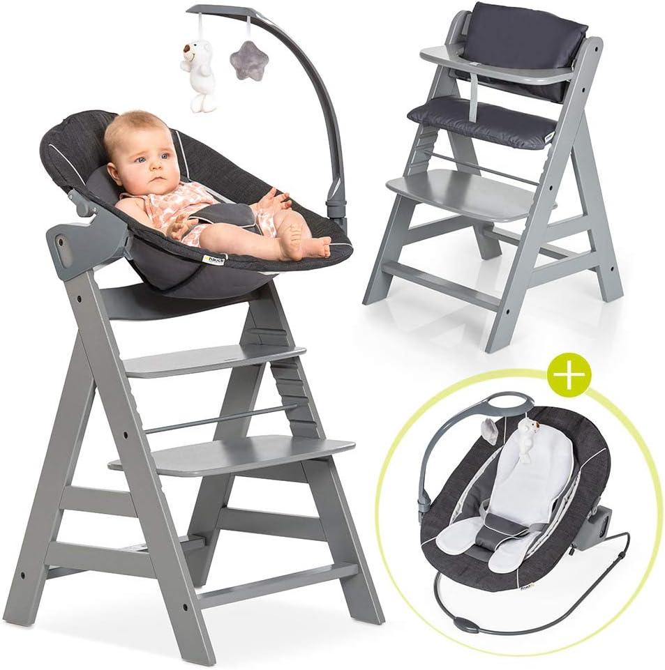 Hauck Alpha Plus Newborn Set Deluxe - Trona evolutiva con Hamaca reclinable, móvil y cojín - Trona bebe convertible- Silla Trona Madera haya - Gris