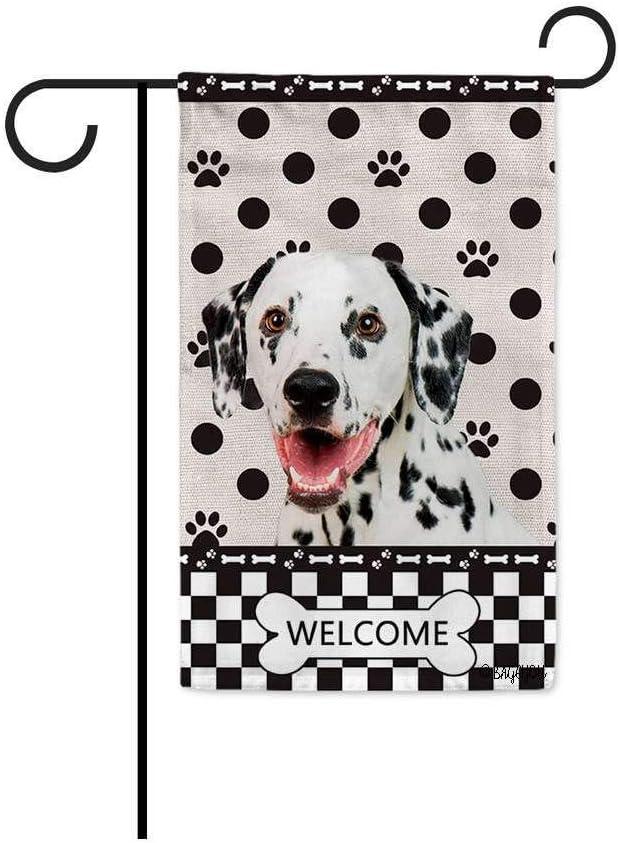 BAGEYOU Welcome Dog Polka Dots Garden Flag Dalmatian Buffalo Check Plaid Paw Bone Decor Home Banner for Outside 12.5x18 Inch Print Both Sides