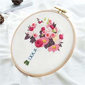 Flower Bouquet DIY Embroidery Kit Needlework Cross Stitch with Hoop Frame for Beginner Swing Art Painting Handcraft Wedding Gift,F,No Hoop Kit