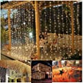 3M*3M Curtain Lights, 304 led Icicle Lights Christmas Curtain String Fairy Wedding Led Lights for Wedding, Valentine's Day,Party, Holiday,Outdoor Wall,Kitchen,Home Garden Decorations Warm White