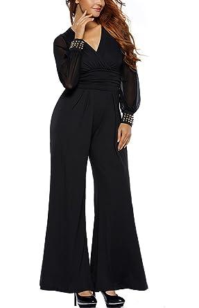 91d1ffcb013 Engood Women s Elegant Casual Losse Long Wide-Leg Jumpsuits Rompers Black  ...