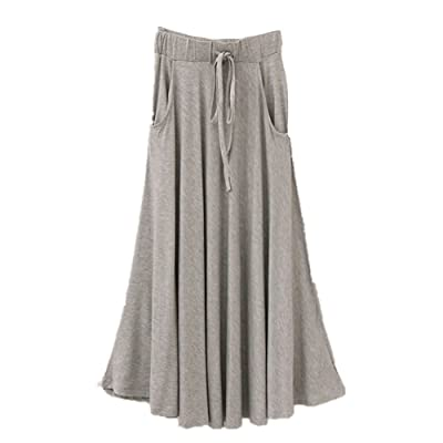 bd3cd27340 Superbaby Women Junior Drawing Pockets Cotton Stretchy Pleated Long Skirt