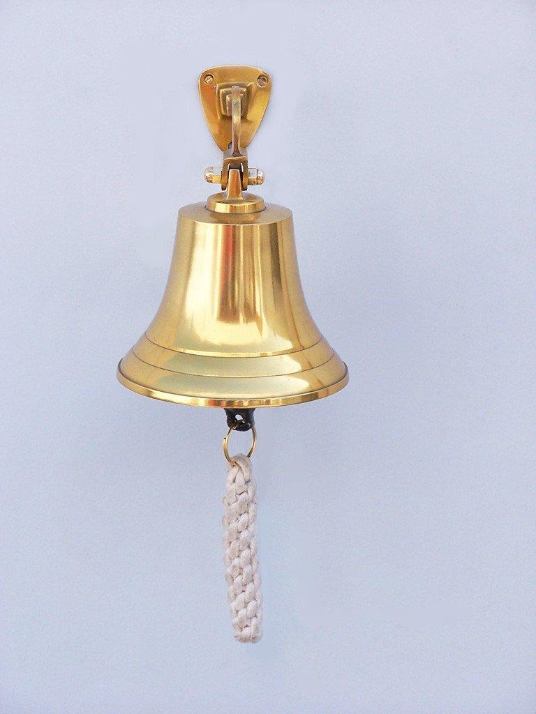 Handcrafted Model Ships Brass Hanging Ship's Bell 6'' - Small Brass Bell - Brass Decorative Bell - Wall