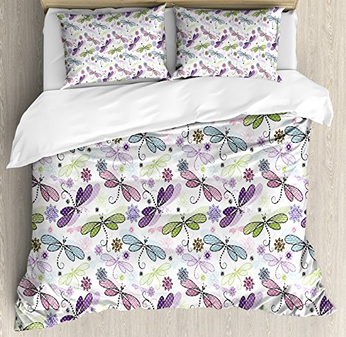 (Ambesonne Dragonfly Duvet Cover Set Queen Size, Abstract Bugs with Ethnic Hippie Style Sketchy Flowers Artwork, Decorative 3 Piece Bedding Set with 2 Pillow Shams, Blue)
