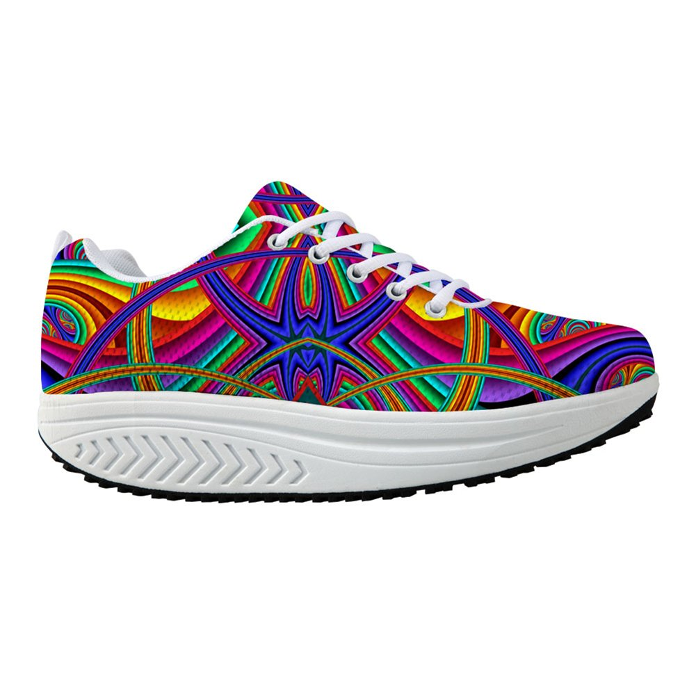 Bigcardesigns Fashion Fitness Walking Sneaker Casual Women Wedge Platform Shoes B01MF7IHDW Women's US 7 B(M)=EUR 38|Cool Pattern