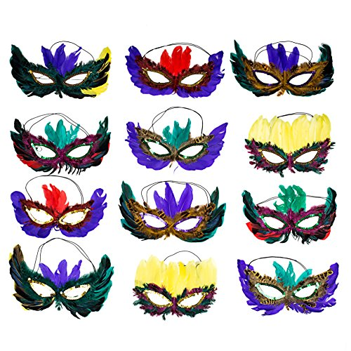 Bulk Half Masks, 1 Dozen Fantasy Feather Masks 12 Assorted Styles, Masquerade Masks for Mardi Gras Party (Feather Half Masks)