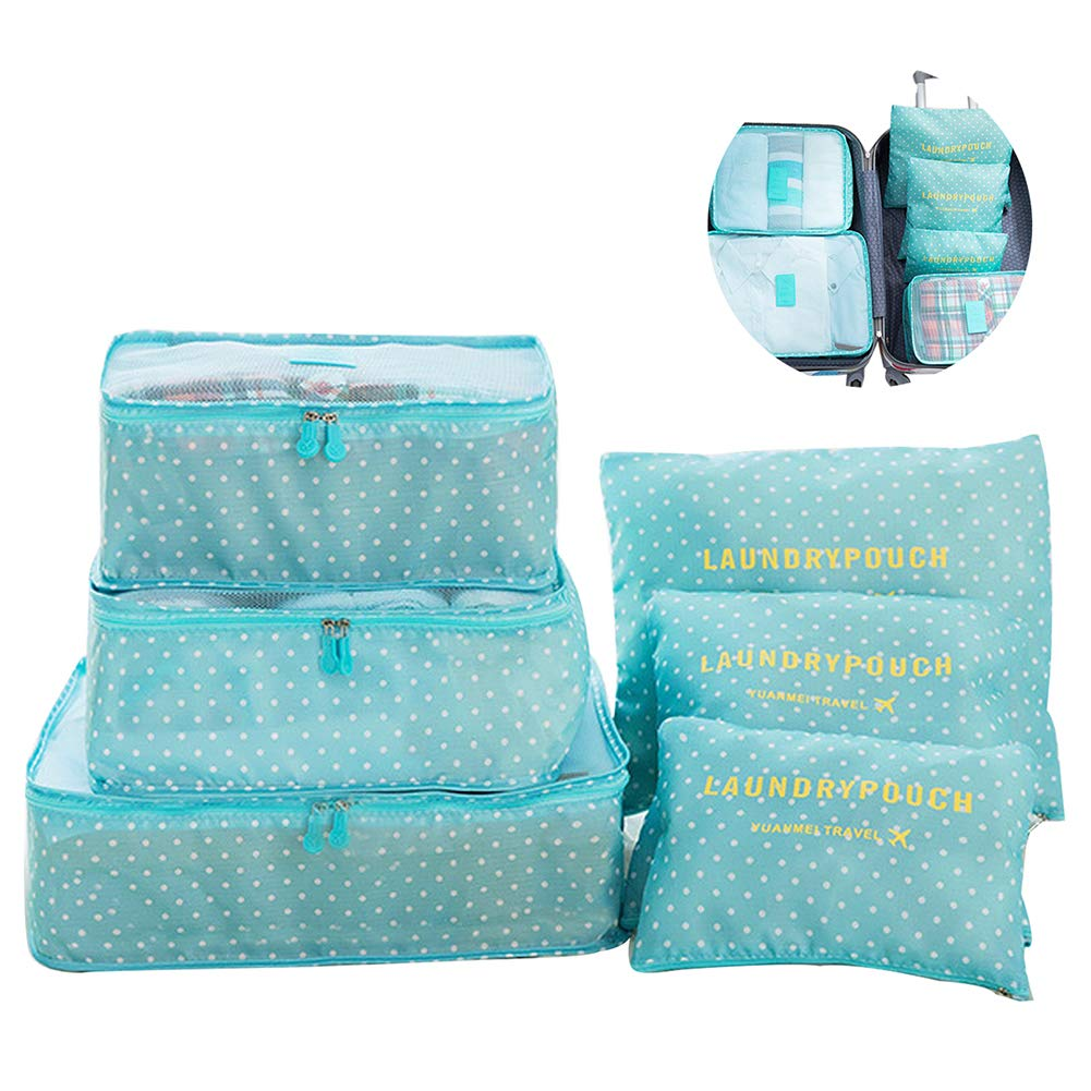6 PCS Packing Cubes Travel Storage Bags Trip Luggage Organizer Pouches for Clothes-Blue Dot Pattern