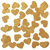 "Lings moment Confetti Hearts Christmas Decorations for Wedding party Table Confetti Festival Items & Party Props, Gold Glitter Confetti - DIY Kits, 100pcs of 1"" Hearts Dots"