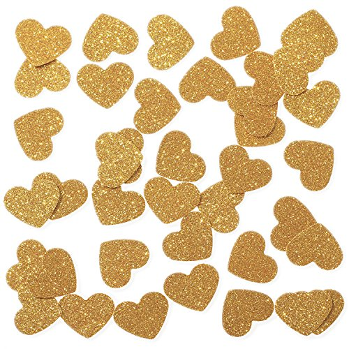 Ling's moment Confetti Hearts for Wedding party, Table Confetti, Christmas and Party Decorations, Gold Glitter Paper Confetti, DIY Kits, 100pcs of 1