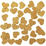 "Ling's moment Confetti Hearts Christmas Decorations for Wedding Table Confetti Festival Items & Party Props, Gold Glitter Confetti - DIY Kits, 100pcs of 1"" Hearts Dots"