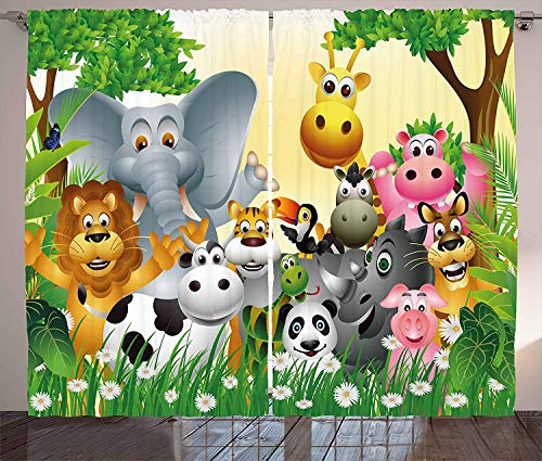 - Kids Decor Polyester Curtains With Holes, Cute Animals in Jungle Elephant Giraffe Panda Bear Pig Lion Hippo Rhino Cartoon,2 Panel Drapes/Window Treatment for Living Room/Bedroom,104 W x 72 L inches