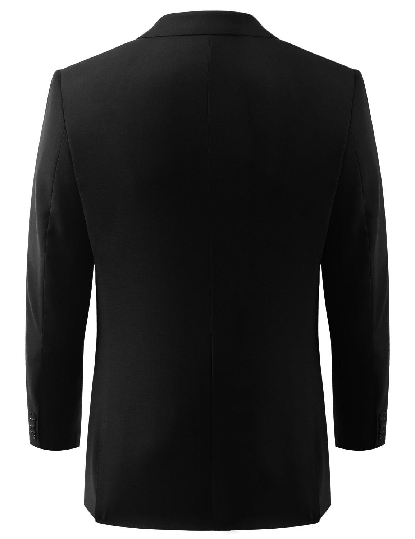 MONDAYSUIT Men's Modern Fit 2-Piece Suit Blazer Jacket & Trousers BLACK 50R 45W by MONDAYSUIT (Image #4)